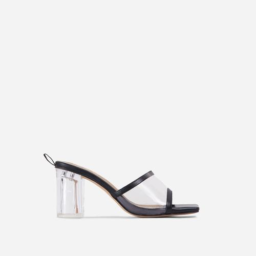 Bora Wide Fit Square Peep Toe Clear Perspex Block Heel Mule In Black Faux Leather