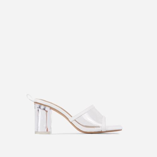 Bora Square Peep Toe Clear Perspex Block Heel Mule In White Faux Leather