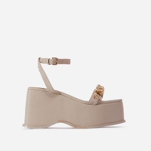 Served Chain Detail Square Toe Flatform Sandal In Cream Nude Faux Leather