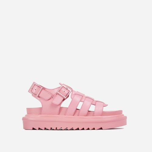 Nicola Buckle Detail Chunky Sole Caged Flat Gladiator Sandal In Pink  Faux Leather