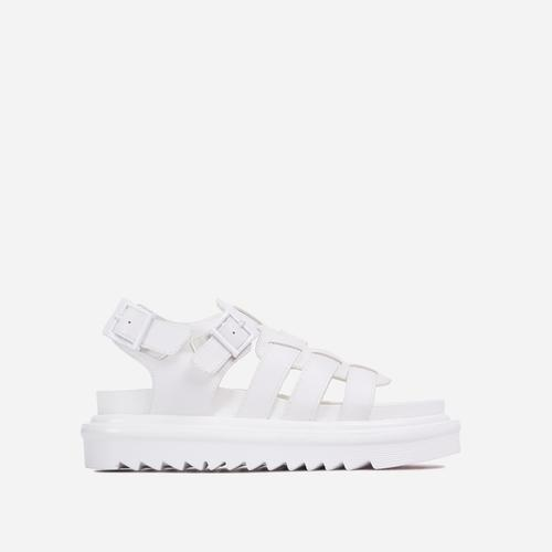 Nicola Buckle Detail Chunky Sole Caged Flat Gladiator Sandal In White Faux Leather