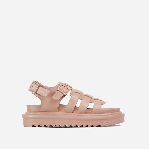 Nicola Buckle Detail Chunky Sole Caged Flat Gladiator Sandal In Nude Faux Leather