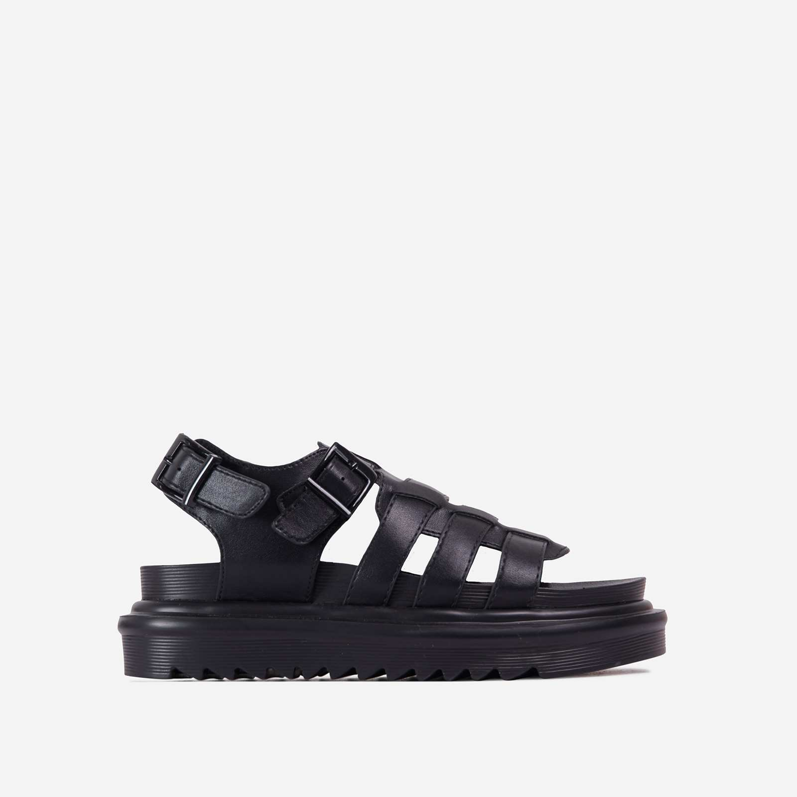 Nicola Buckle Detail Chunky Sole Caged Flat Gladiator Sandal In Black Faux Leather
