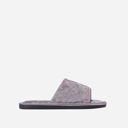 Kisses Printed Detail Peep Toe Quilted Flat Slipper In Grey Satin