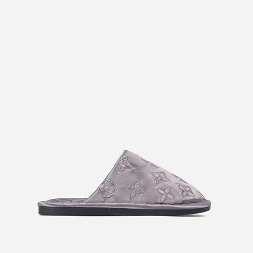 Quinn Printed Detail Quilted Flat Slipper In Grey Satin