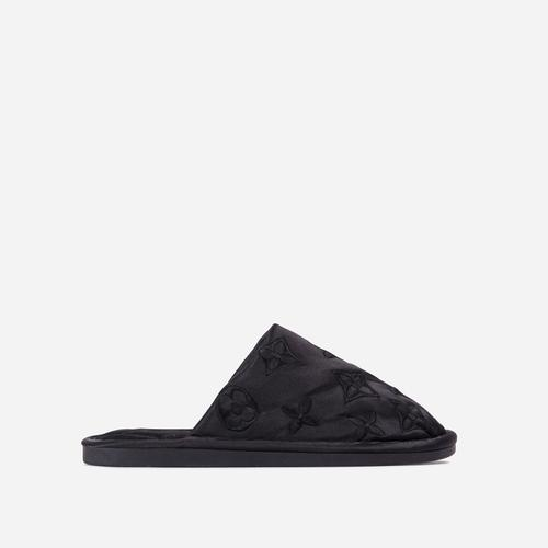 Quinn Printed Detail Quilted Flat Slipper In Black Satin