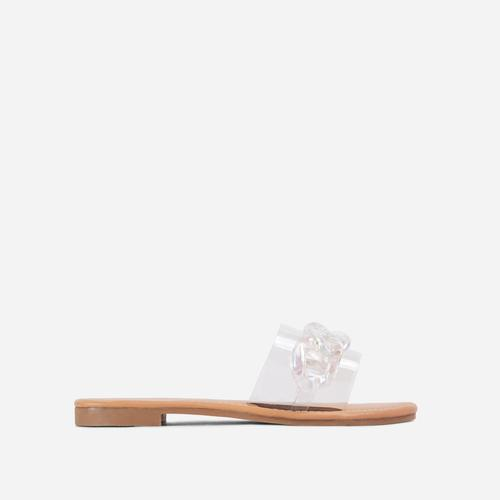 You Shine Wide-Fit Perspex Strap Clear Chain Detail Flat Slider Sandal In Nude Faux Leather