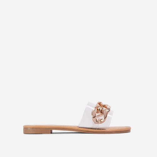You Shine Perspex Strap Gold Chain Detail Flat Slider Sandal In Nude Faux Leather