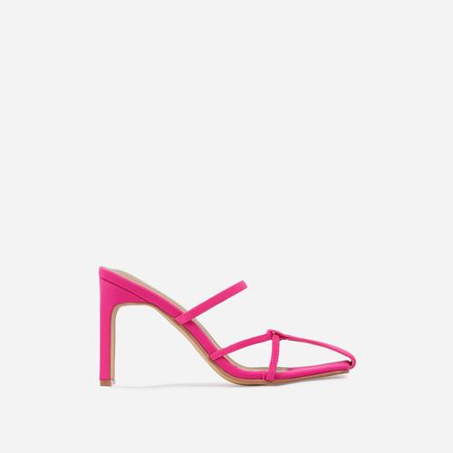 Lucia Closed Toe Thin Block Heel Mule In Pink Lycra