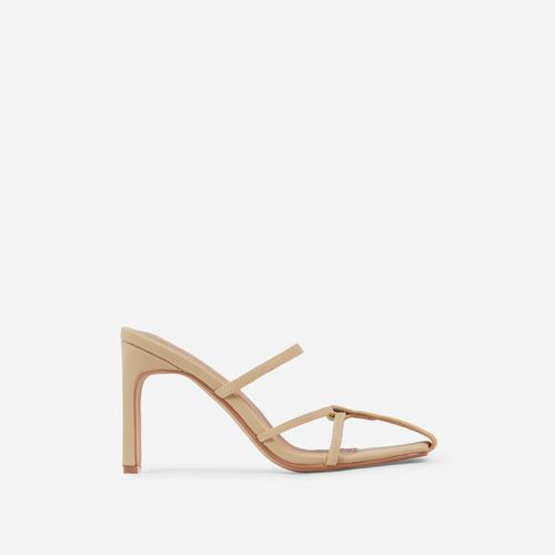 Lucia Closed Toe Thin Block Heel Mule In Nude Lycra
