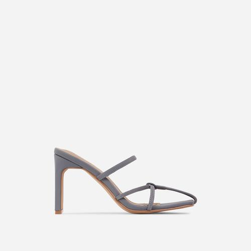 Lucia Closed Toe Thin Block Heel Mule In Grey Lycra