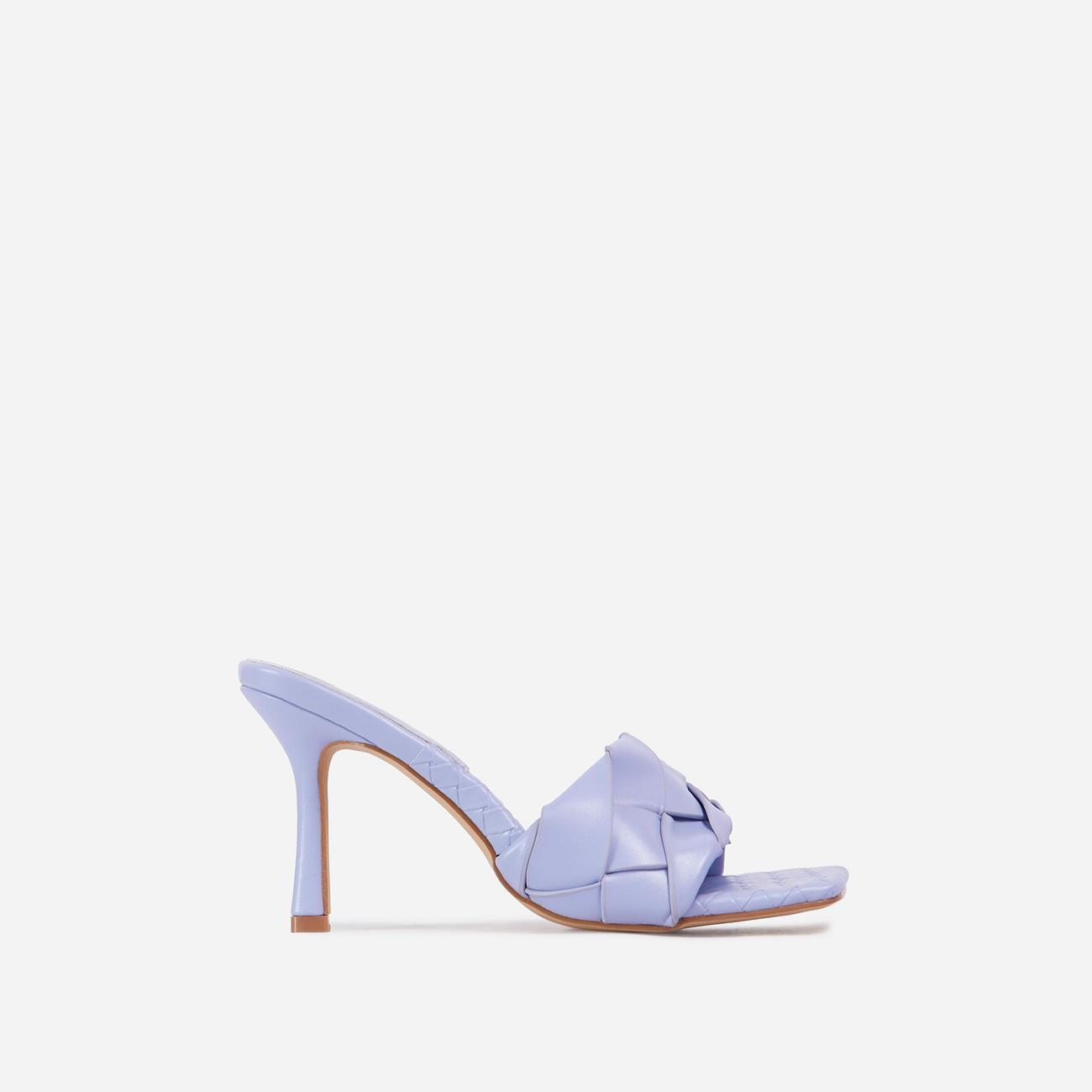 Turntup Woven Square Peep Toe Mule In Lilac Faux Leather Image 1