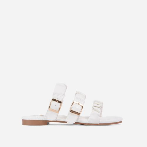 Robyn Buckle Detail Ruched Triple Strap Quilted Flat Slider Sandal In White Faux Leather