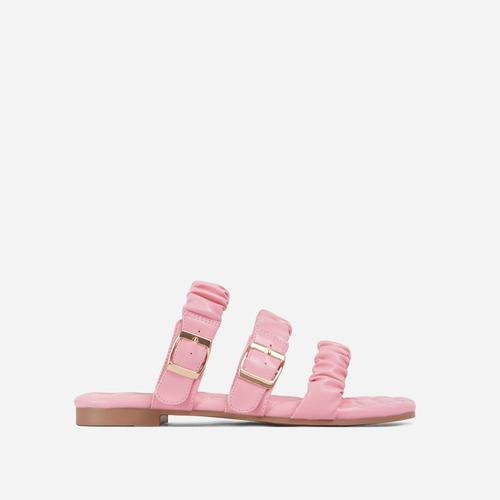 Robyn Buckle Detail Ruched Triple Strap Quilted Flat Slider Sandal In Pink Faux Leather