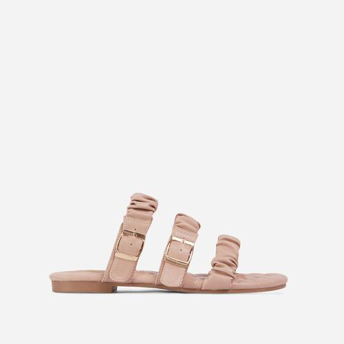 Robyn Buckle Detail Ruched Triple Strap Quilted Flat Slider Sandal In Nude Faux Leather