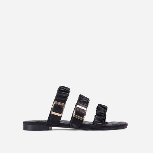 Robyn Buckle Detail Ruched Triple Strap Quilted Flat Slider Sandal In Black Faux Leather