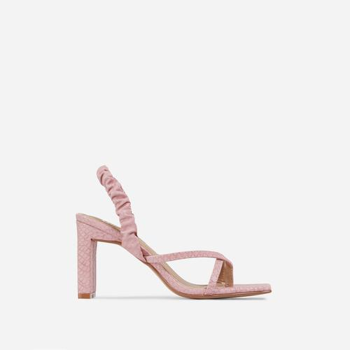 Sweet-Cheeks Ruched Detail Thong Strap Square Toe Thin Block Heel In Pink Snake Print Faux Leather