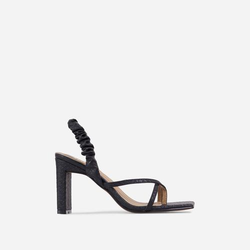 Sweet-Cheeks Ruched Detail Thong Strap Square Toe Thin Block Heel In Black Snake Print Faux Leather