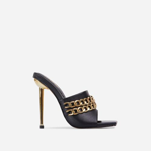 Fund Chain Detail Square Peep Toe Metallic Heel Mule In Black Faux Leather