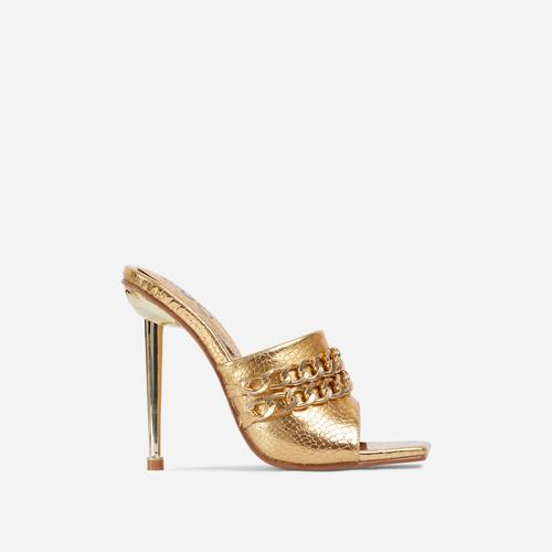 Fund Chain Detail Square Peep Toe Metallic Heel Mule In Gold Croc Print Faux Leather