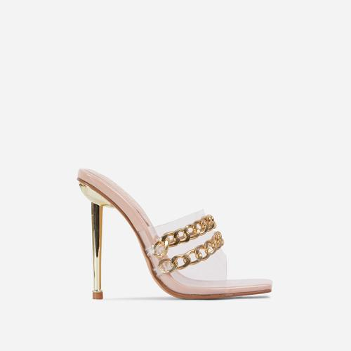 Fund Chain Detail Clear Perspex Square Peep Toe Metallic Heel Mule In Nude Patent