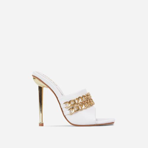 Fund Chain Detail Square Peep Toe Metallic Heel Mule In White Faux Leather