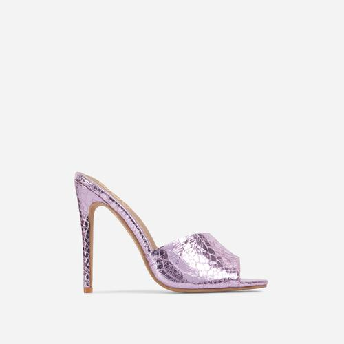 Glyn Peep Toe Heel Mule In Metallic Pink Croc Print Faux Leather