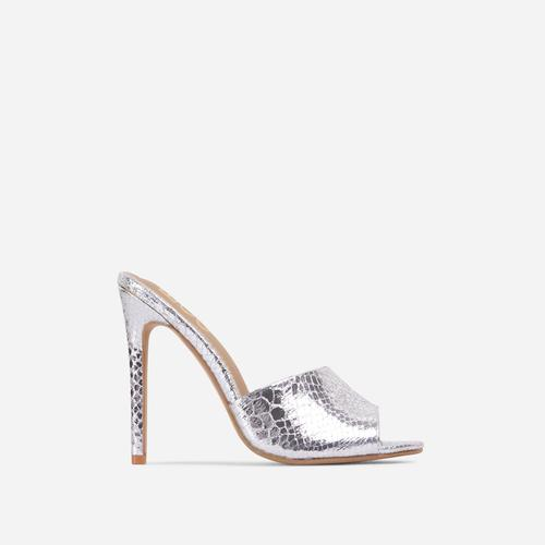 Glyn Peep Toe Heel Mule In Metallic Silver Croc Print Faux Leather