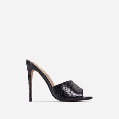 Glyn Peep Toe Heel Mule In Black Croc Print Faux Leather