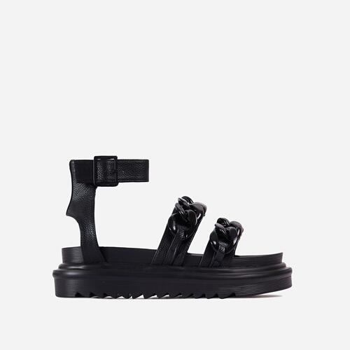 Lottie Chain Detail Chunky Sole Flat Gladiator Sandal In Black Faux Leather