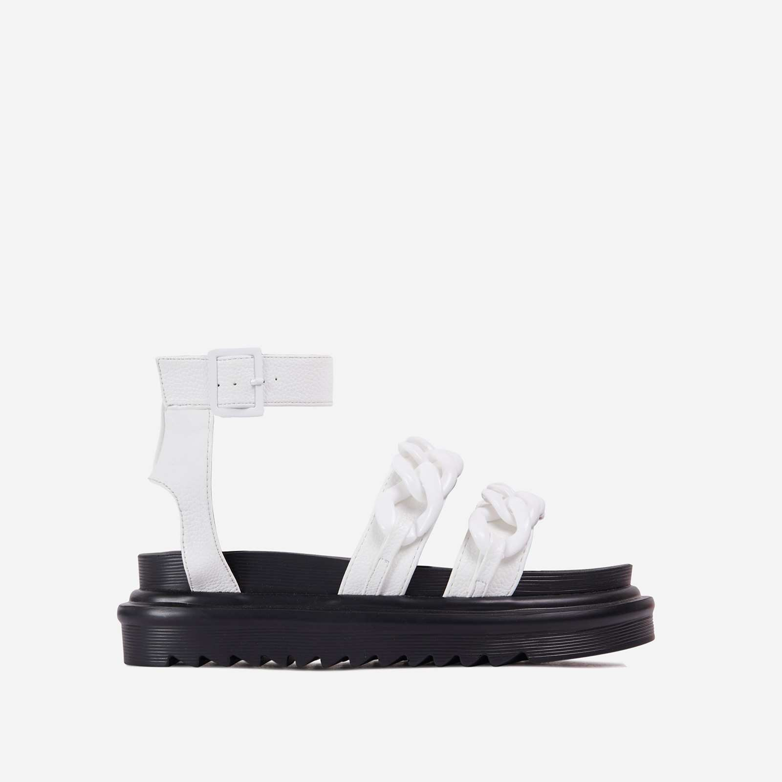 Lottie Chain Detail Chunky Sole Flat Gladiator Sandal In White Faux Leather