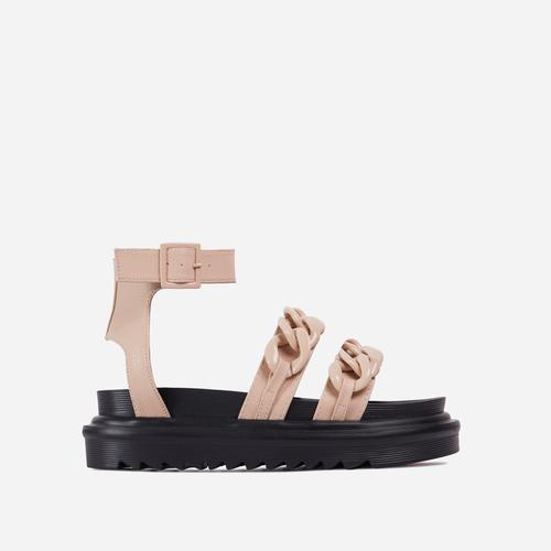Lottie Chain Detail Chunky Sole Flat Gladiator Sandal In Nude Faux Leather