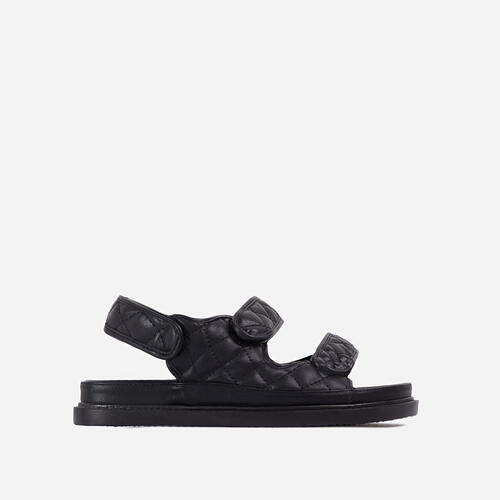 Hyped Wide Fit Quilted Double Strap Flat Dad Sandal In Black Faux Leather