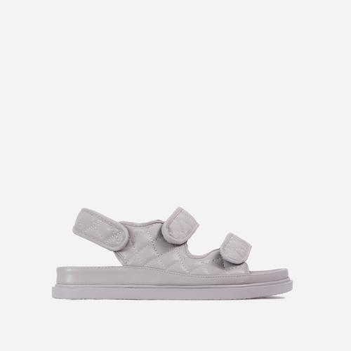 Hyped Wide Fit Quilted Double Strap Flat Dad Sandal In Grey Faux Leather