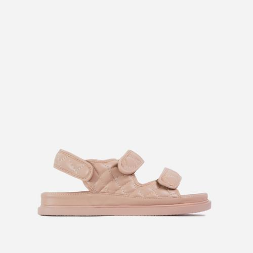 Hyped Wide Fit Quilted Double Strap Flat Dad Sandal In Nude Faux Leather