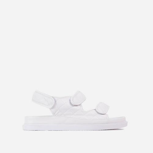 Hyped Wide Fit Quilted Double Strap Flat Dad Sandal In White Faux Leather