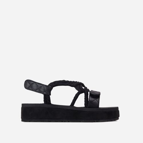 Mood-Lifter Strappy Rope Detail Flat Sandal In Black Faux Leather