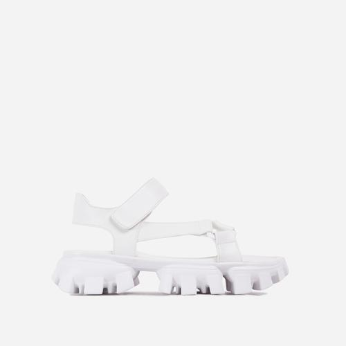 News-Worthy Chunky Cleated Sole Double Strap Flat Dad Sandal In White Faux Leather