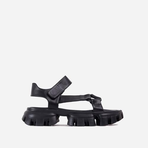 News-Worthy Chunky Cleated Sole Double Strap Flat Dad Sandal In Black Faux Leather