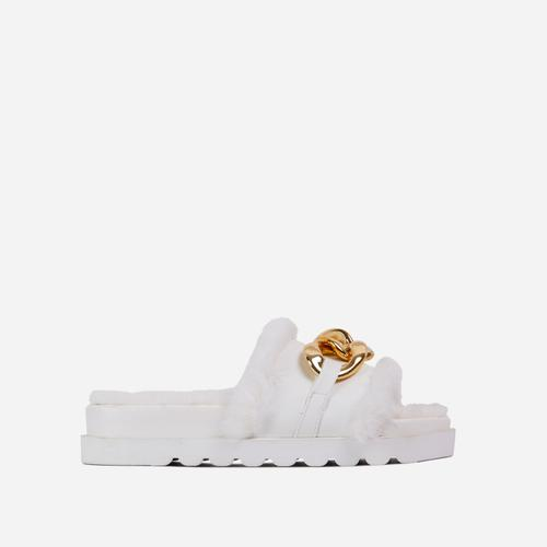 Side-Piece Chain Strap Faux Fur Detail Flat Slider Sandal In White Faux Leather
