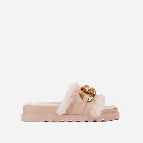 Side-Piece Chain Strap Faux Fur Detail Flat Slider Sandal In Nude Faux Leather