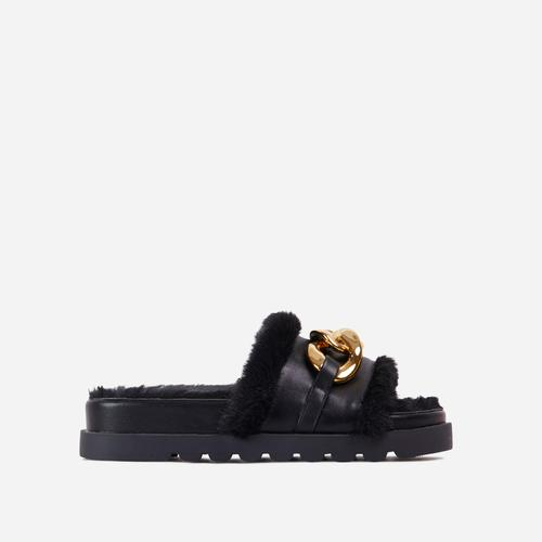 Side-Piece Chain Strap Faux Fur Detail Flat Slider Sandal In Black Faux Leather