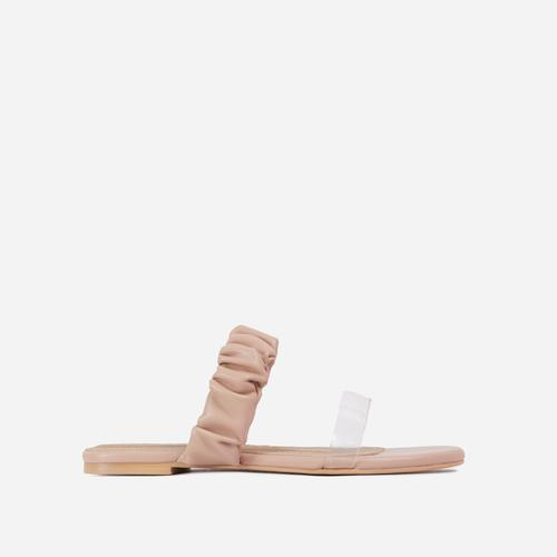 Tarrah Ruched And Perspex Double Strap Flat Slider Sandal In Nude Faux Leather