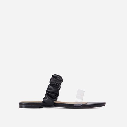 Tarrah Ruched And Perspex Double Strap Flat Slider Sandal In Black Faux Leather