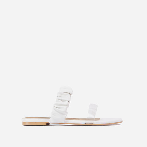Tarrah Ruched And Perspex Double Strap Flat Slider Sandal In White Faux Leather