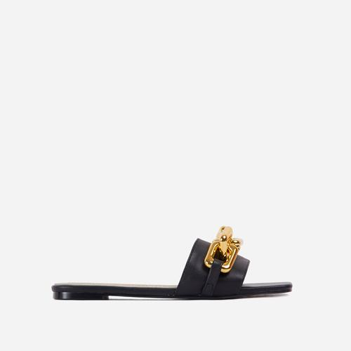 Chainy Chain Detail Square Toe Flat Slider Sandal In Black Faux Leather