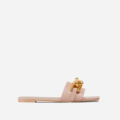 Chainy Chain Detail Square Toe Flat Slider Sandal In Nude Faux Leather