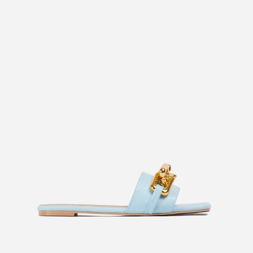 Chainy Chain Detail Square Toe Flat Slider Sandal In Blue Faux Leather