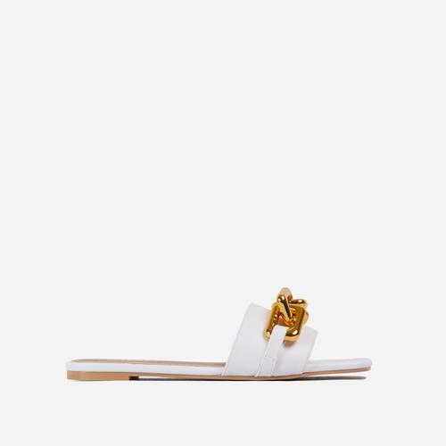 Chainy Chain Detail Square Toe Flat Slider Sandal In White Faux Leather