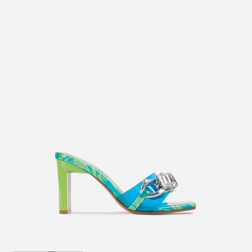 Serna Blue Perspex Strap Diamante Gem Chain Detail Square Peep Toe Thin Block Heel Mule In Green Print